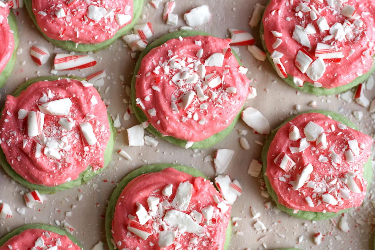 Christmas sugar cookies with candy canes