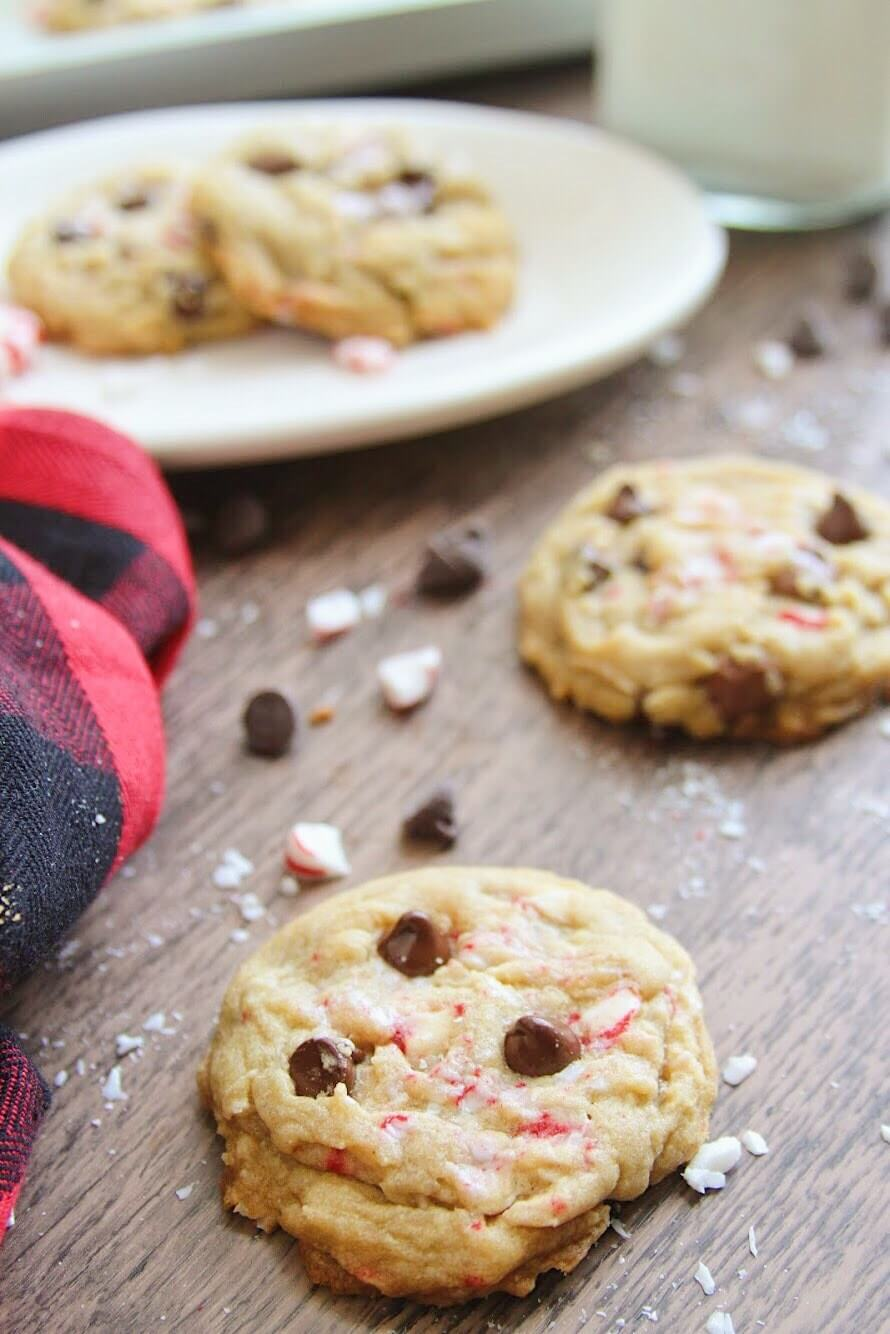 chocolate chip cookies with candy cane pieces